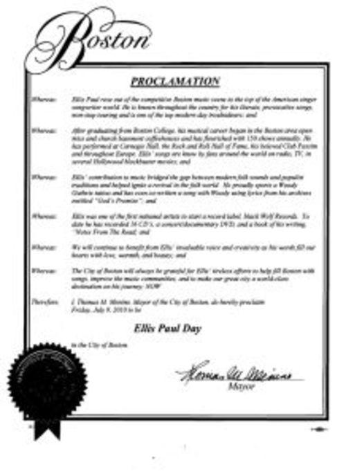 MAYOR MENINO DECLARED ELLIS PAUL DAY IN THE CITY OF BOSTON