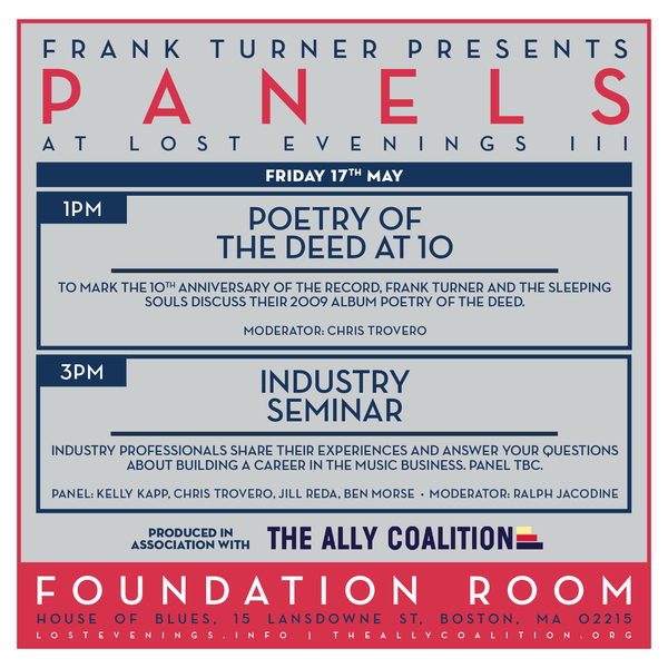 Frank Turner Lost Evenings Panel Discussion Friday at 3pm House of Blues Foundation Room